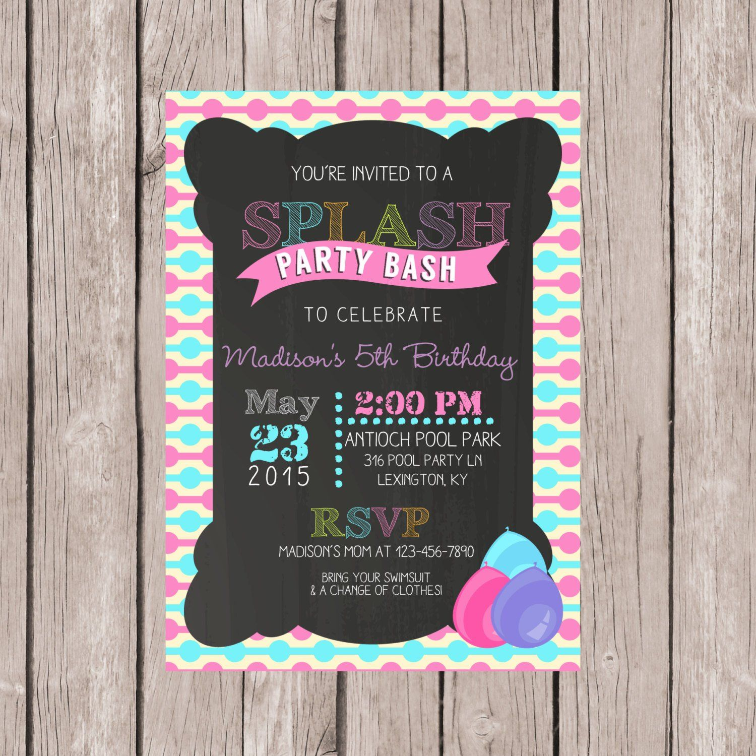 DIY PRINTABLE Pool Party invitation Birthday pool party invite