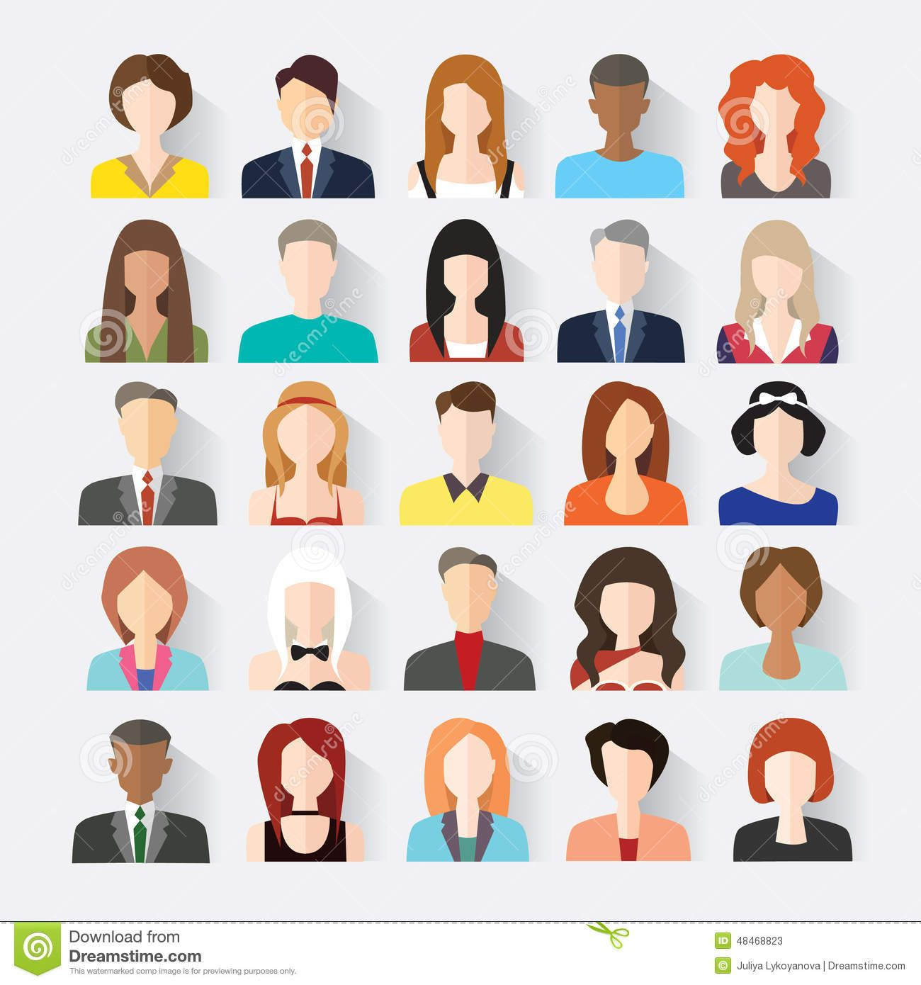 download big set of avatars profile pictures flat icons stock vector