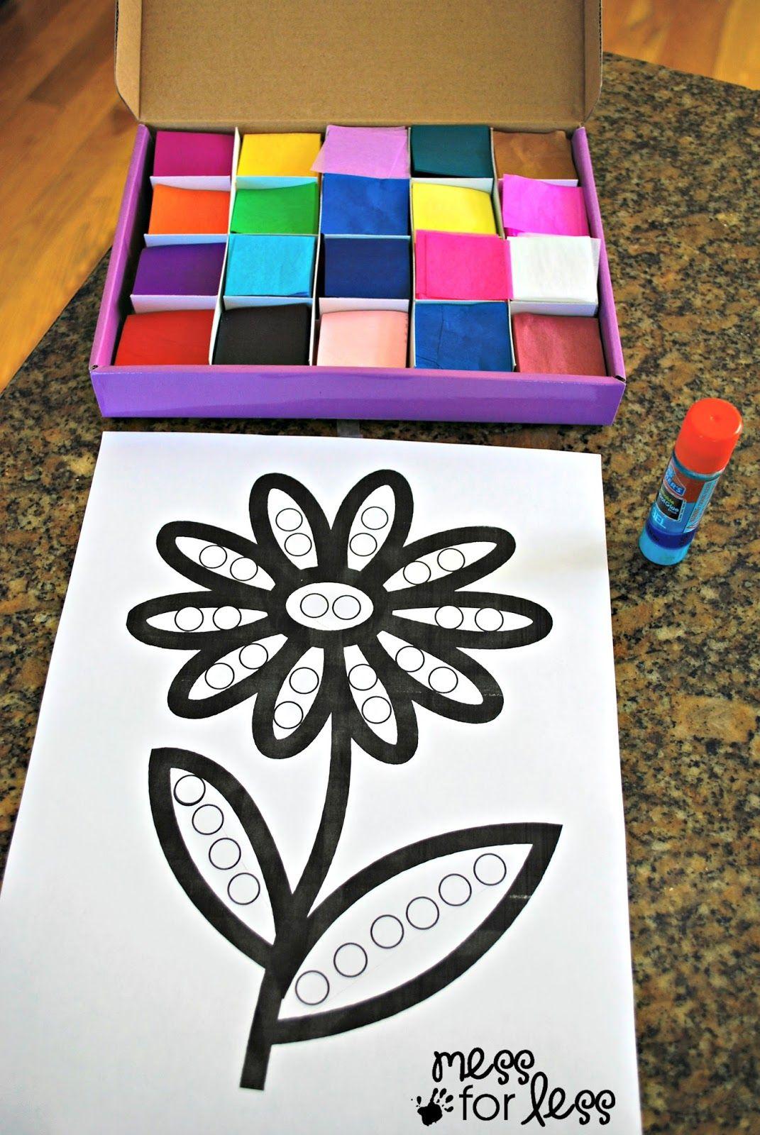 Tissue Paper Flower Art Activity