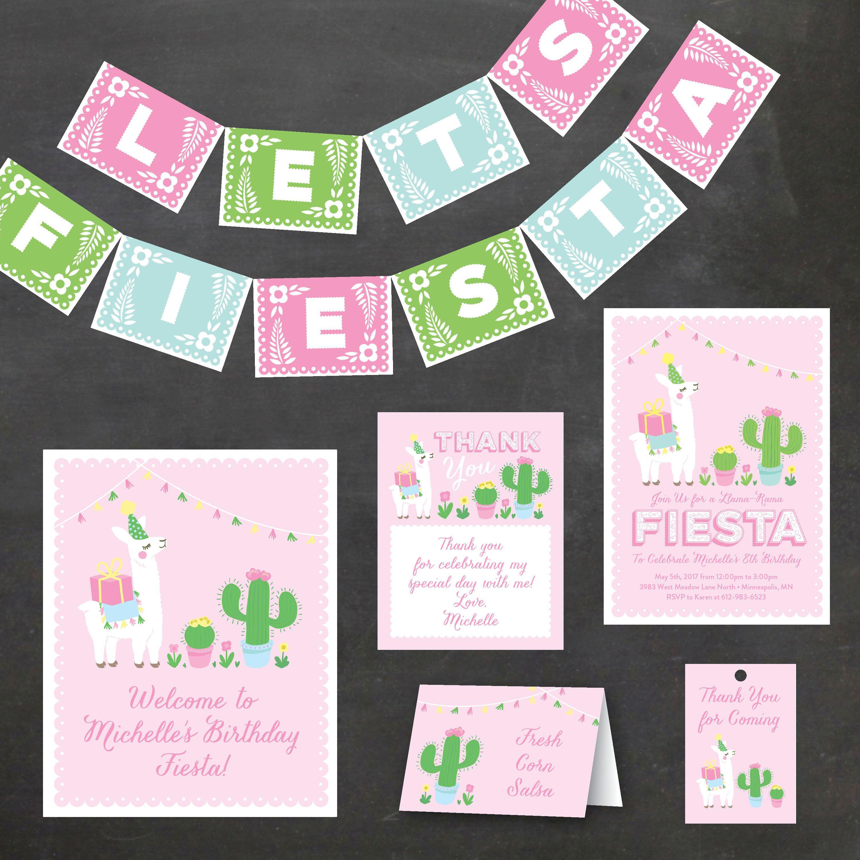 Llama Birthday Party Kit Pink Cactus Llama Birthday Party Fiesta