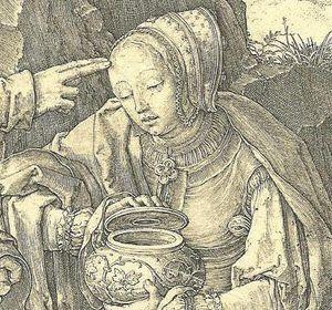 1519 Lucas van Leyden -  Christ appearing to St Mary Magdalene as a gardener (Noli Me Tangere); DETAIL