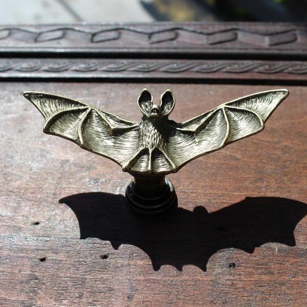 bat drawer knob in brass bats