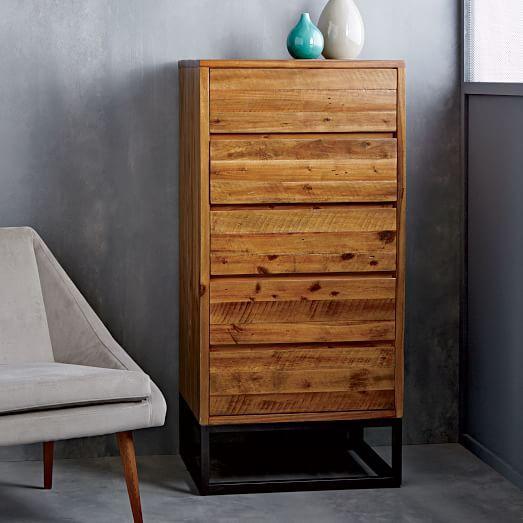 Logan Industrial 5 Drawer Dresser Natural
