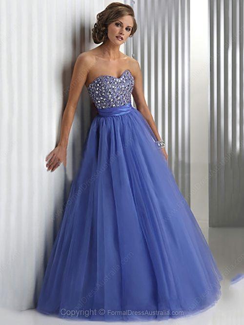 Ball Gown Tulle Sweetheart Rhinestone Floor Length Formal Dresses