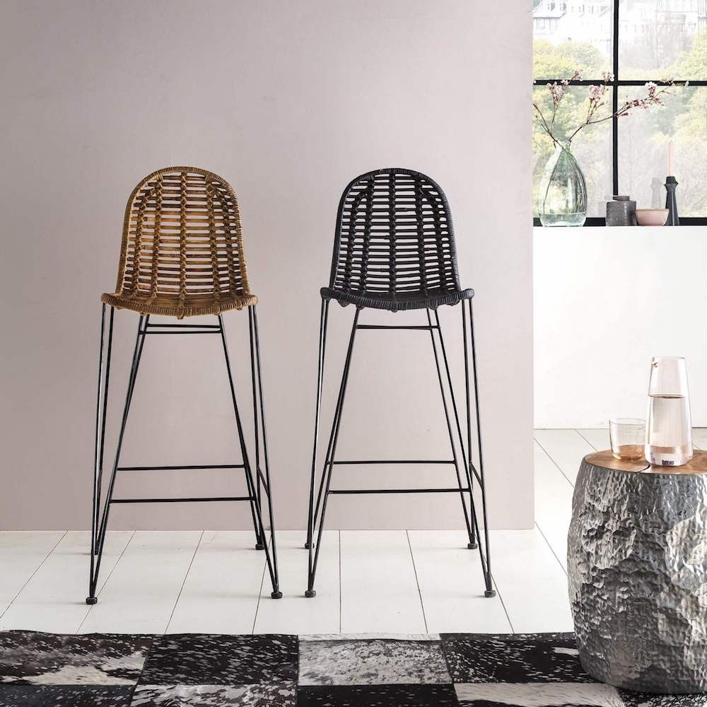 Rattan Bar Stools Vintage Scandinavian Modern Style Black Or Natural Rattan Bar Stools Modern Bar Stools Bar Stools With Backs
