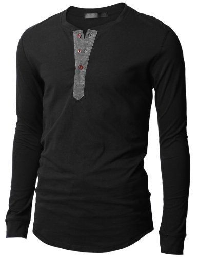 Doublju Mens Henley T-shirts with Long Sleeve - List price: $50.99 Price: $15.99 Saving: $35.00 (69%):