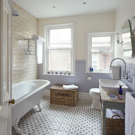 Shabby Chic Bathroom With Period Style Sanitaryware And Lilac Walls Bathroom Transformation Cottage Style Bathrooms Inexpensive Bathroom Remodel