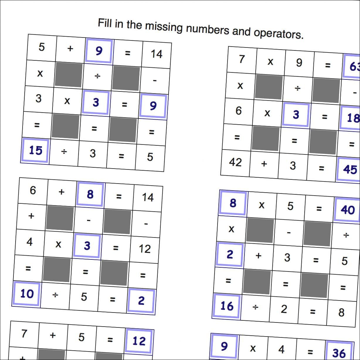 Grid Puzzle Math Worksheets With Negative Numbers