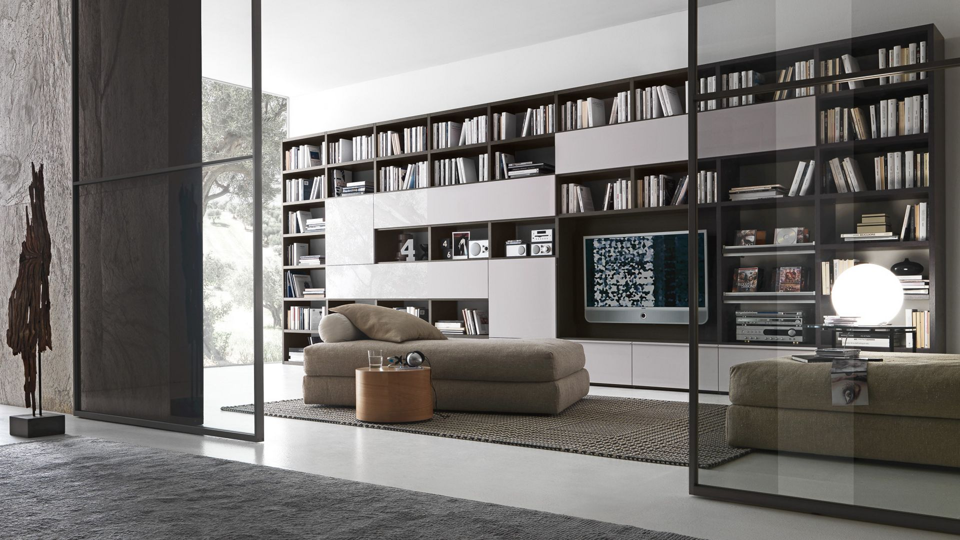 Modern Modular Bookcase Wall Unit Presotto Italia For The Home  # Grande Bibliotheque Avec Porte Coulissante