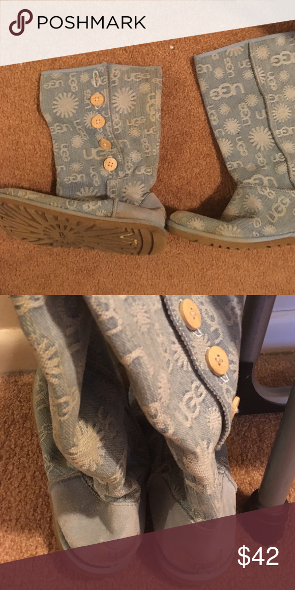 Blue limited edition jean UGGS Limited edition blue uggs. Only worn once! Very cute and perfect with blue jeans. UGG Shoes Winter & Rain Boots