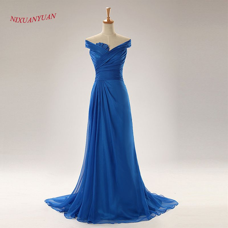 >> Click to Buy << NIXUANYUAN Real Photo Blue Red Chiffon Formal Gowns Long Evening Dress 2017 Pleat A Line Cheap vestidos de noite With Cap Sleeve #Affiliate
