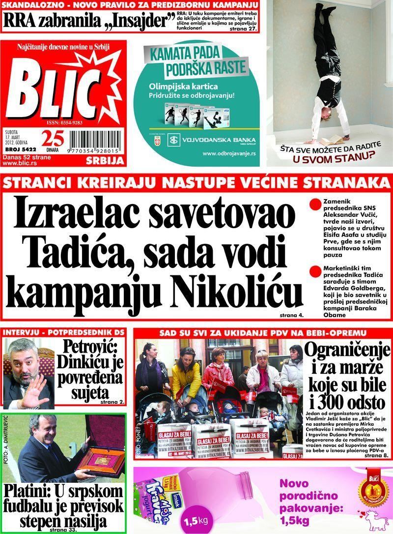 "Naslovna strana ""Blica"" za 17. mart 2012. Baseball cards"
