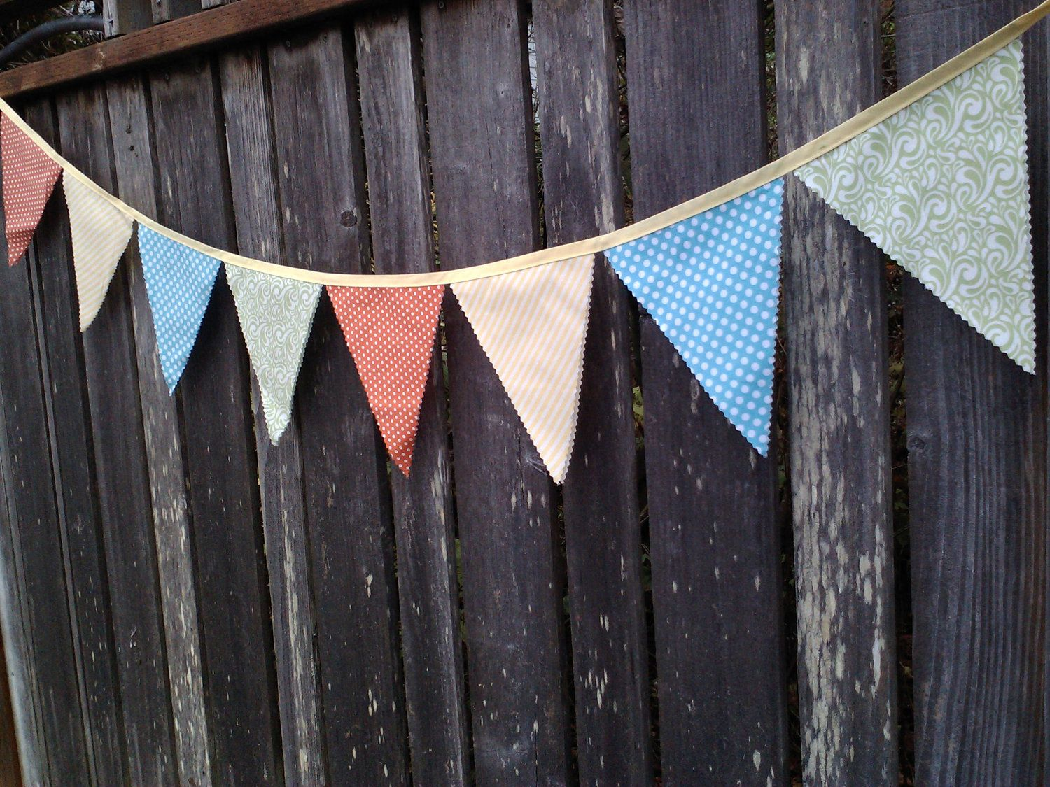 Coral and aqua decor bunting flags coral yellow aqua sea foam