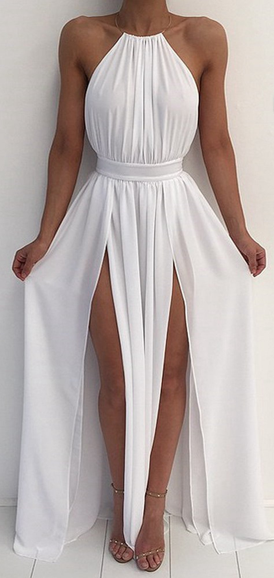 Cassia halter neck belted backless pleated chiffon double slit long