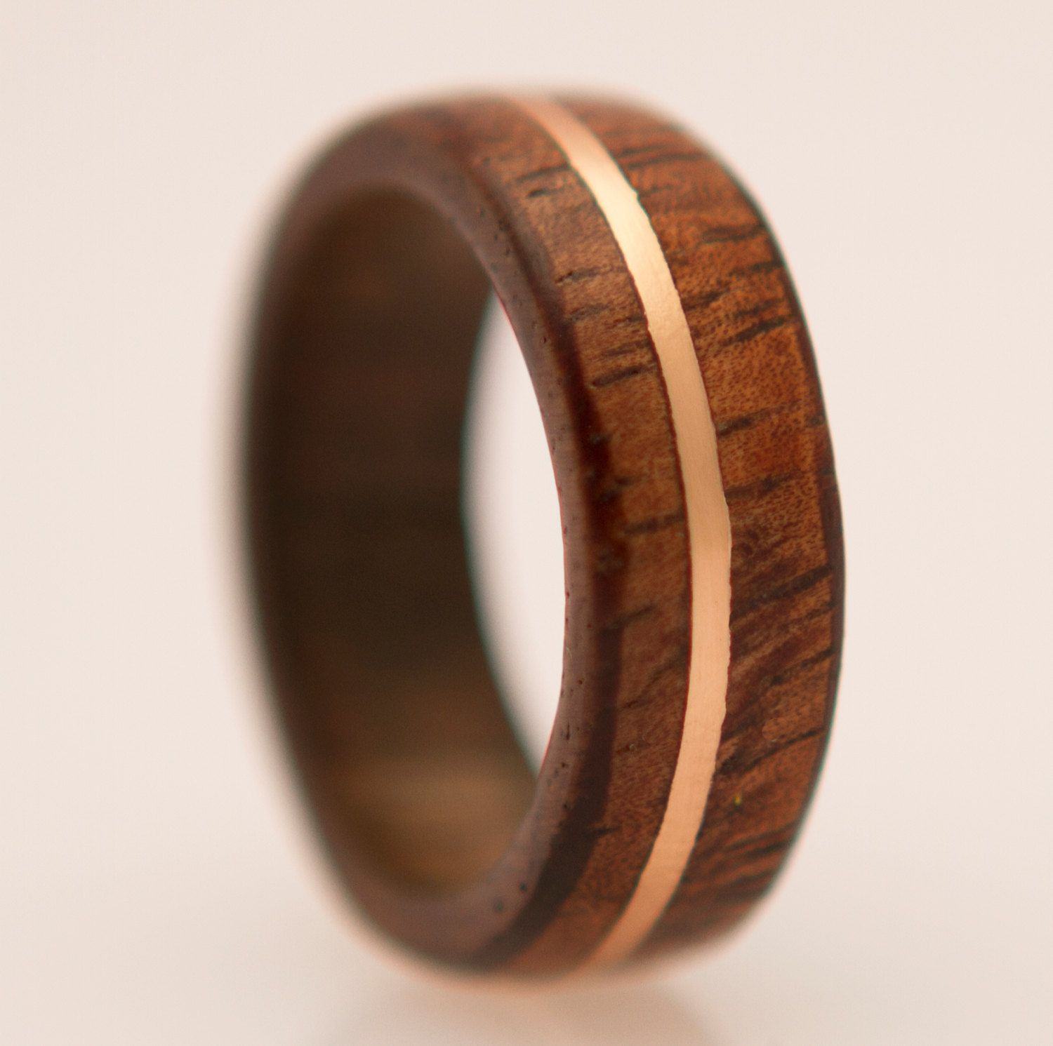waterproof wood ring with copper inlay black ash by aboutjewelry