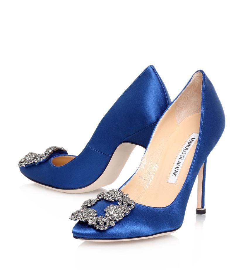 Blahnik Hangisi Bleu Manolo Royal 105 Pompes De Satin 2OogGMdLZe