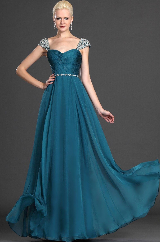 Blue Straps Court Train Chiffon Princess Evening Dress With Beading ...
