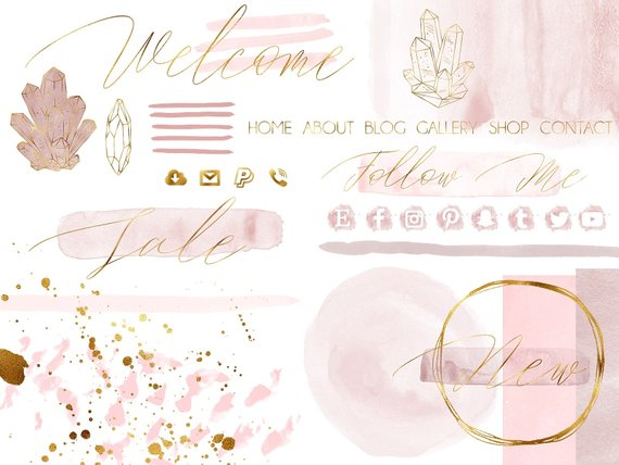Blush Pink Watercolor And Gold Design Bundle Blog Design Kit Etsy Beauty Blog Design WordPress Blog Design Watercolor Branding