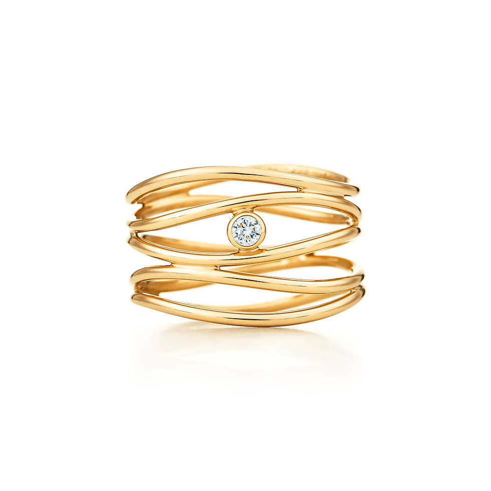 ba0c23256 Elsa Peretti® Wave five-row diamond ring in 18k gold. | Tiffany & Co.