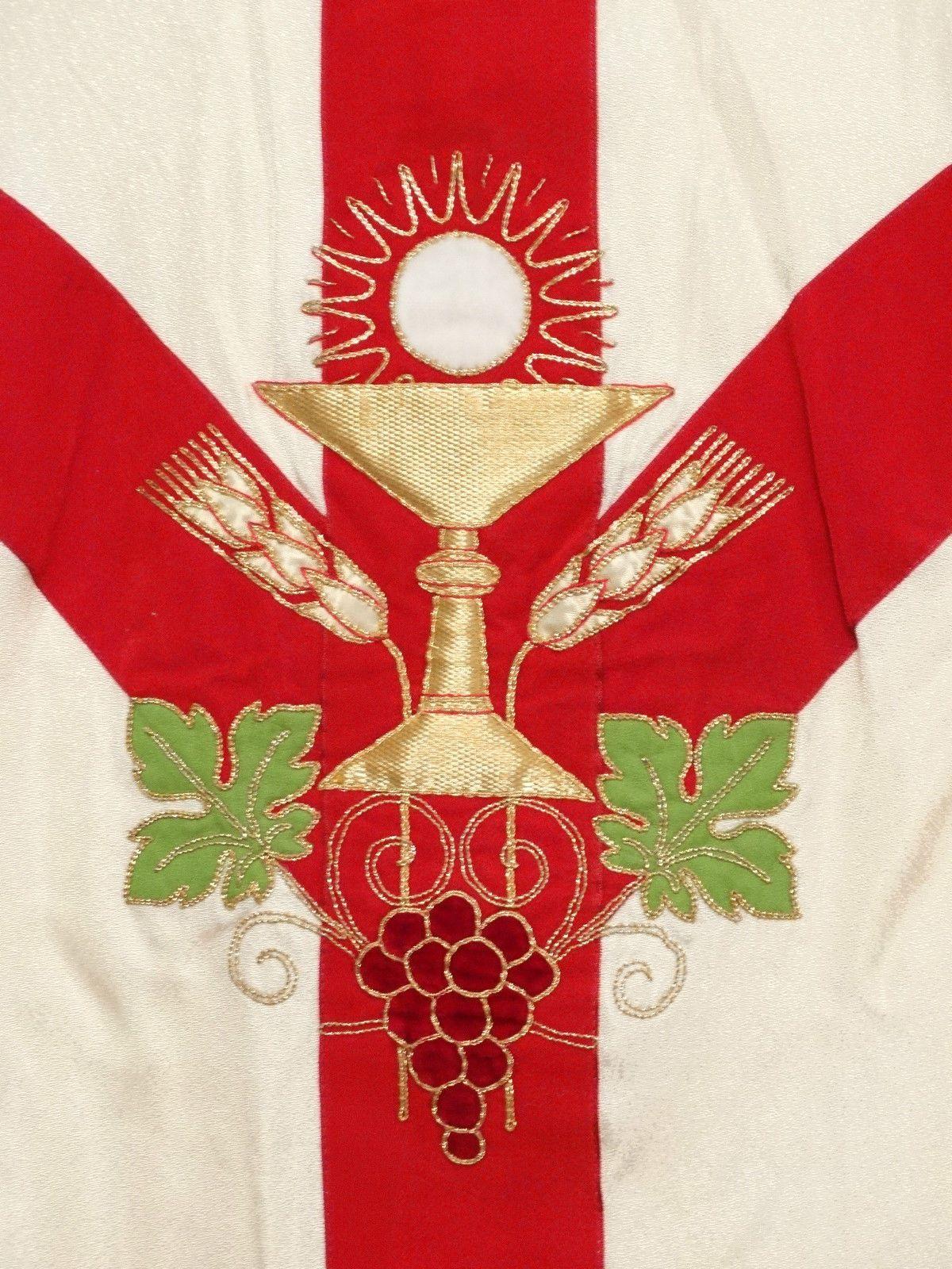 Catholic French Gothic Chasuble Chalice Motif Altar White Vestment Stole 1 Ebay Chalice Church Banners Vestment