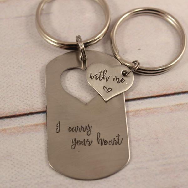 Custom Heart Dog Tag Keychain Set Keychain Set Dog Tag Keychain