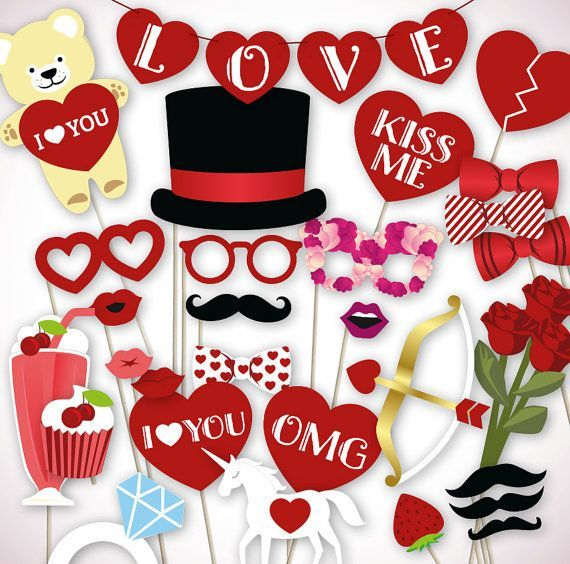 DIGITAL DOWNLOAD: Printable Valentines day photo booth props (PDF ...