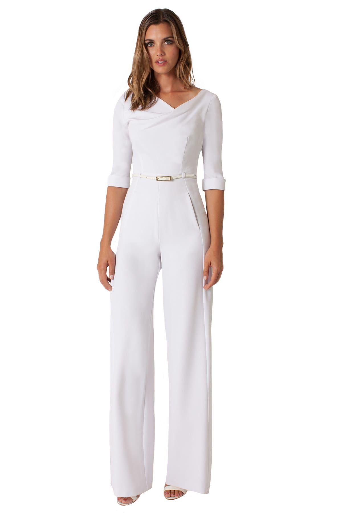 93998934bb18 Black Halo 3 4 sleeve Jackie jumpsuit - white wedding jumpsuit ...