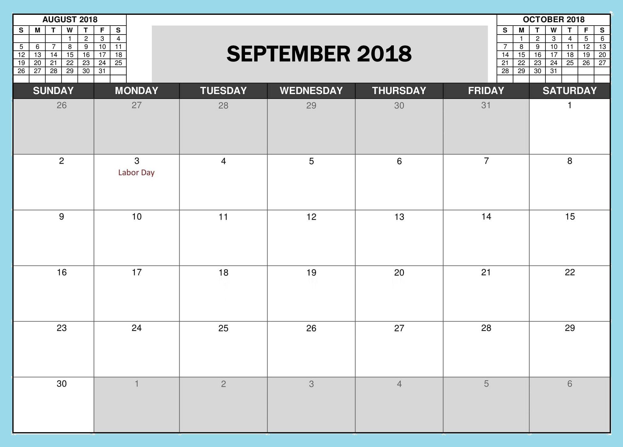 September 2018 Blank Template Calendar Maxcalendars Pinterest
