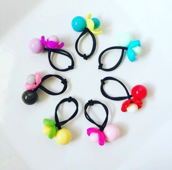 Flower Hair Ties   Ball Hair Ties   Hair Ties   Ponytail Holders   Toddler  Hair   Ponytail Ties   Pi 8ea9a29f5bc