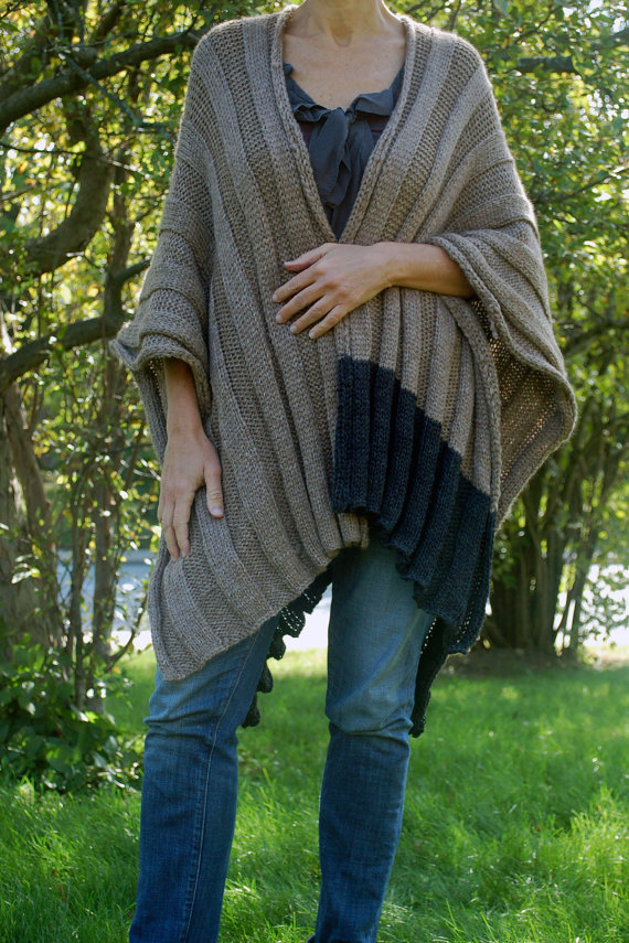 Easy To Knit Wrap Easy To Knit Ruana Poncho Knitting Pattern