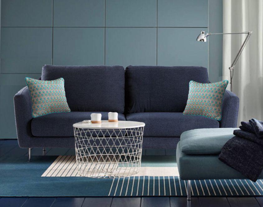 Choisissez la sobriété avec, de chaque côté de votre canapé bleu ...