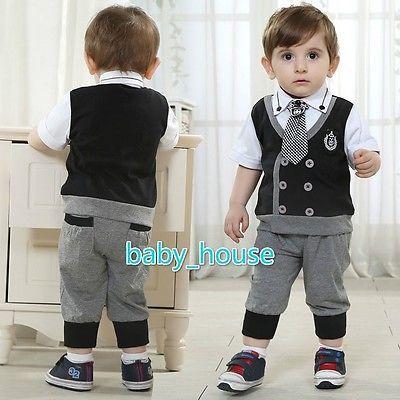 c71ece7a65a4 2pcs Kids Baby Boy Infant T Shirt Top Short Pants Outfit Set Clothes  Gentleman