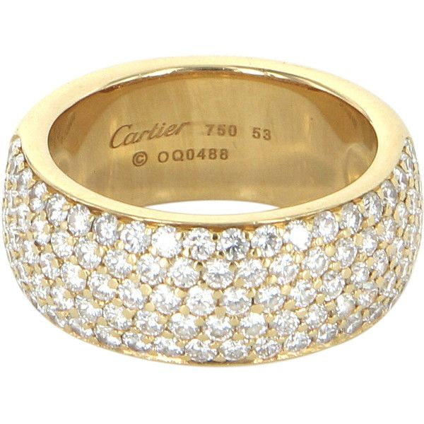 Overview  Elegant pre owned Cartier 5 row diamond ring  crafted in 18 karat  yellow gold  Round brilliant cut diamonds are pave set  estimated at 1Pre Owned Cartier 5 Row Diamond Band Ring Sz 53 US 6 1 4  9 500  . Previously Owned Wedding Rings. Home Design Ideas