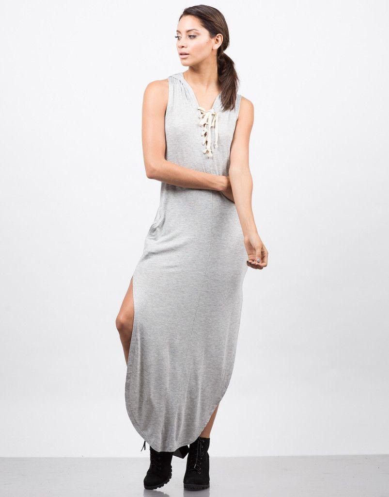 c015244dda2 Hooded Lace Up Sleeveless Dress - Maxi Dress - Day Dress – Dresses – 2020AVE