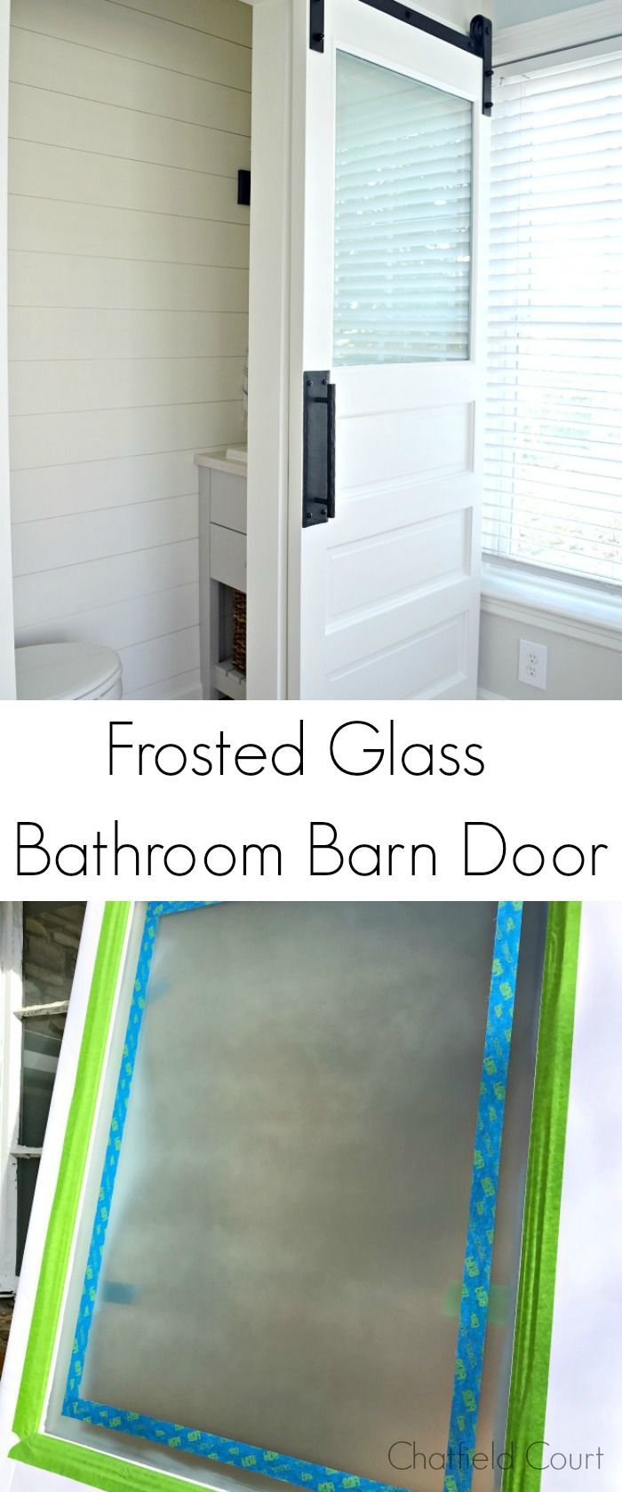 Frosted Glass Bathroom Barn Door – From Epic Fail to Success #diy ...