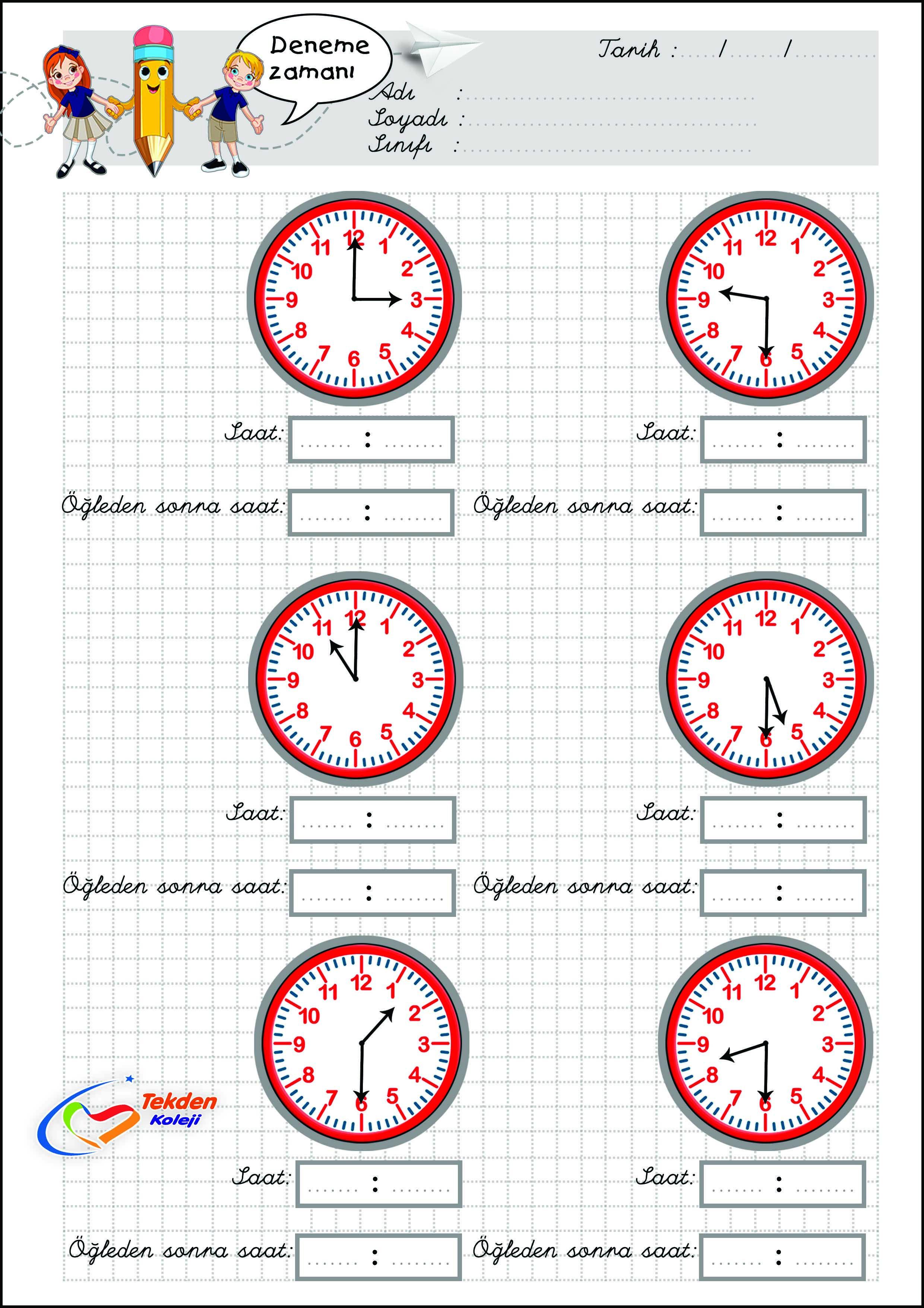 Saatler Calisma Kagidi 1 Sinif Matematik Matematik Sinif Duzeni