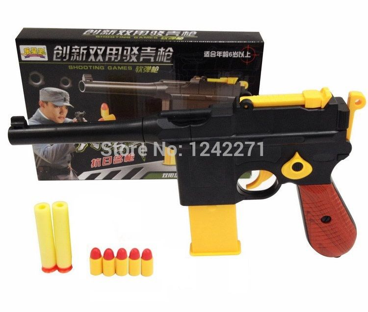 1 pc Classic Toys Mauser pistol Children's toy nerf guns EVA Soft Bullet Gun  plastic Revolver