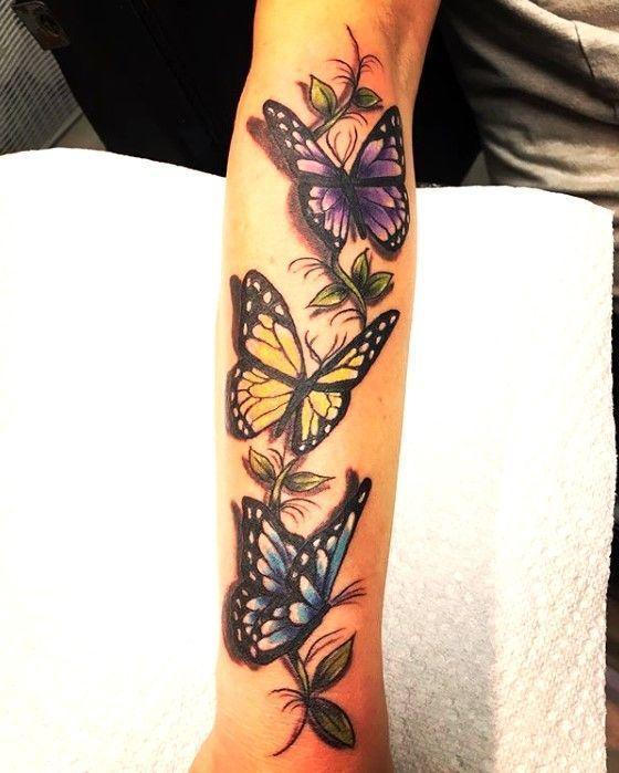 Photo of Schmetterling-lila-gelb-blau-3D-Tattoo-Stil – # Tätowierung #tattoodesigns #t…