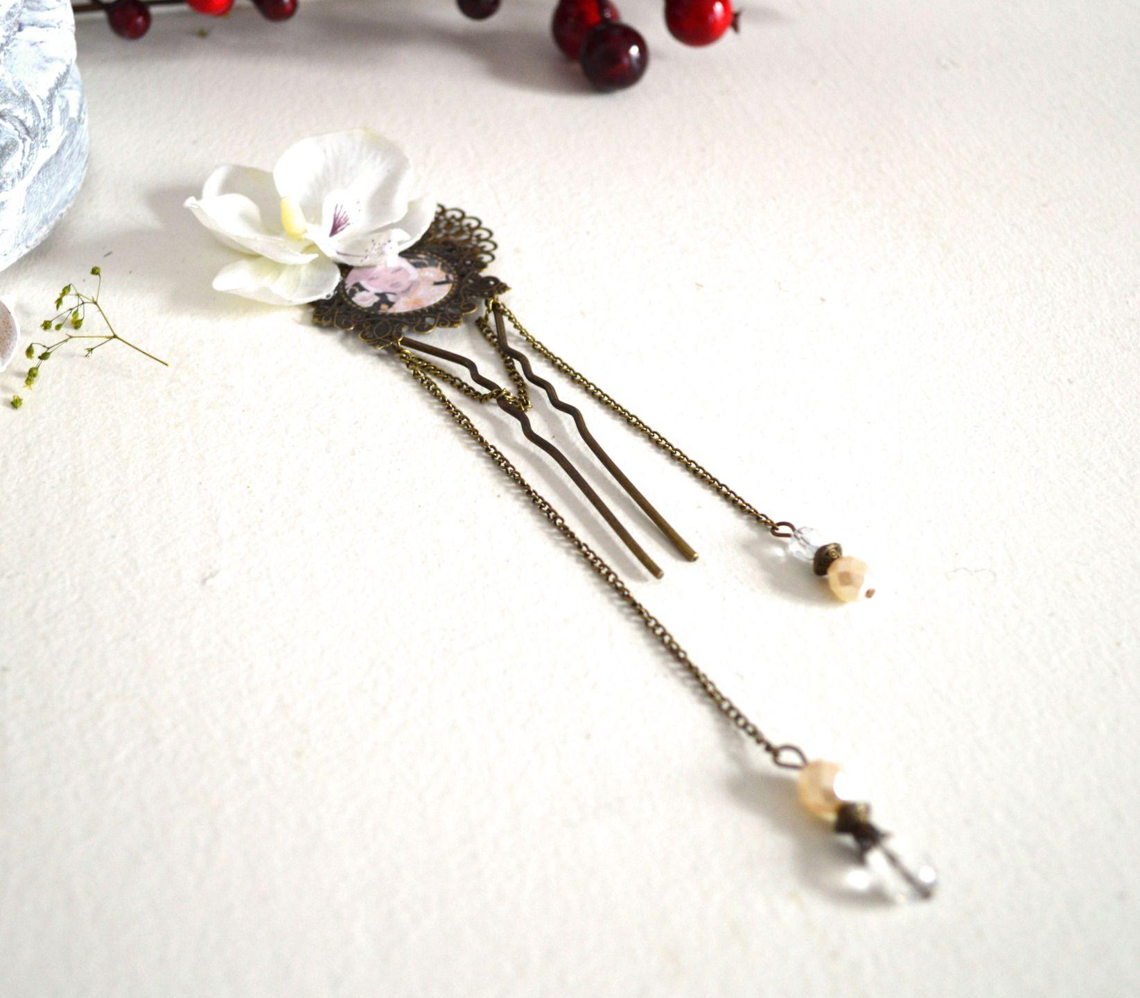 grande pingle cheveux de mariage orchid e blanche longues cha nes de perles de cristal. Black Bedroom Furniture Sets. Home Design Ideas