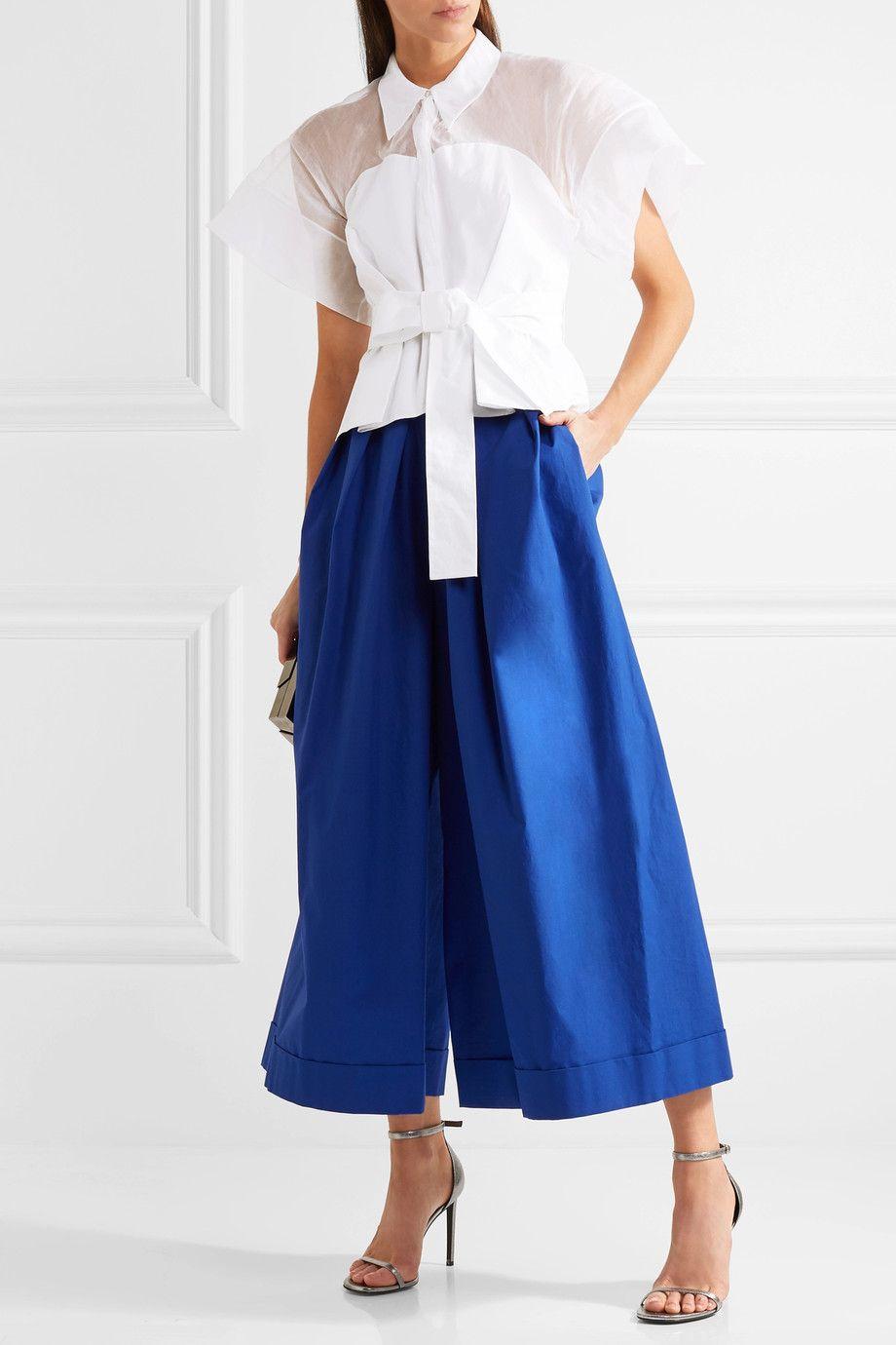 DELPOZO   Cotton-organza and poplin shirt   NET-A-PORTER.COM