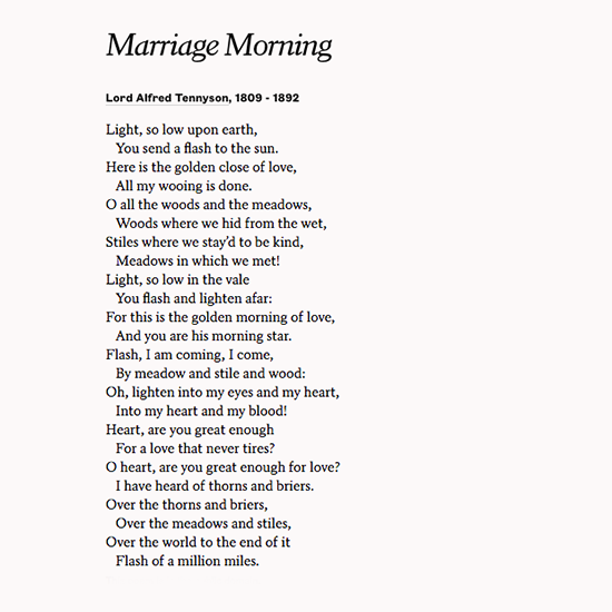 """Wedding Day Poems For Bride: Celebrate Love With """"Marriage Morning"""" By Lord Alfred"""