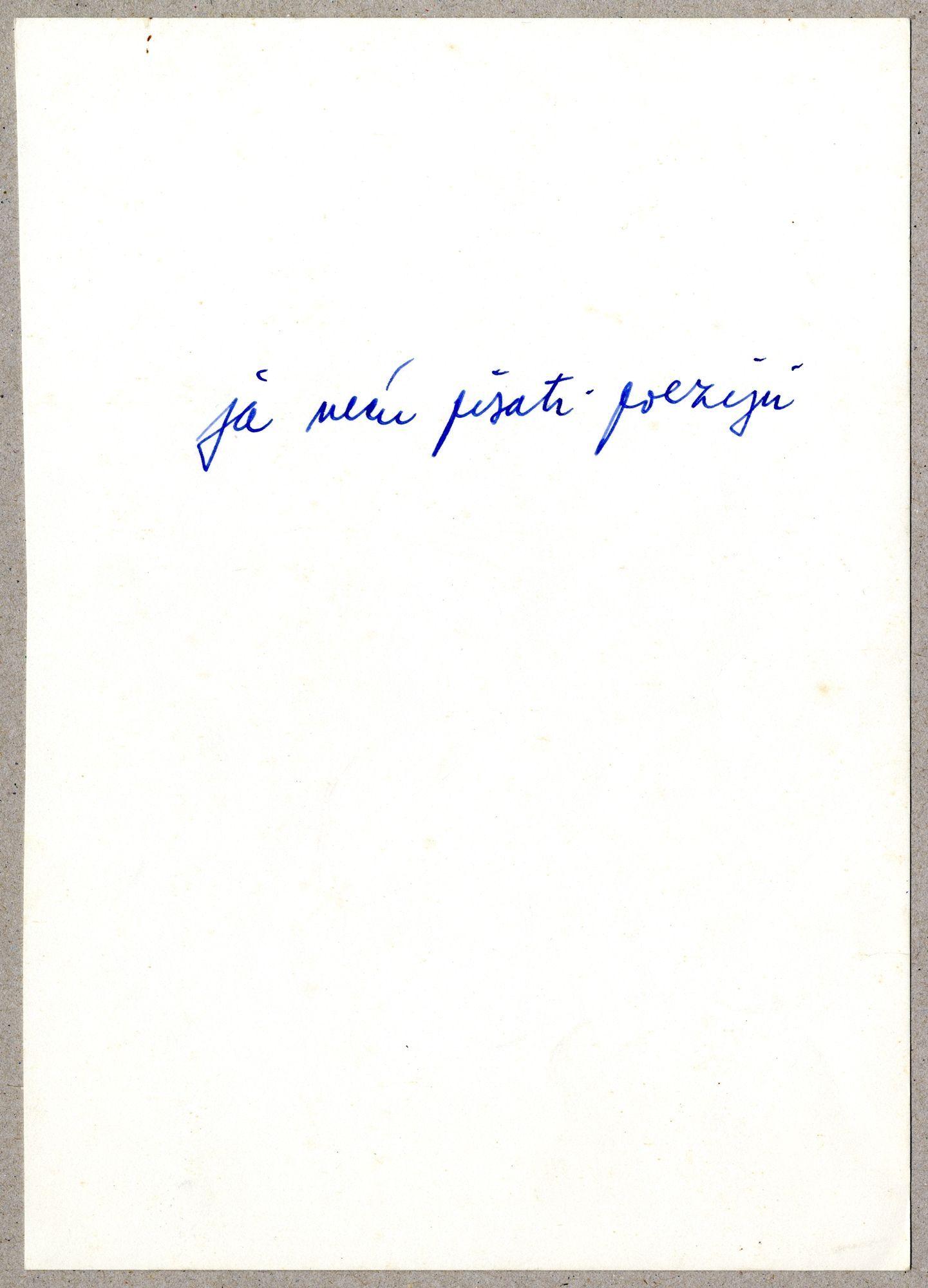 Vlado Martek, Ja necu pisati poeziju
