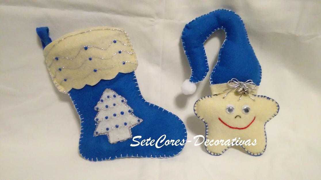 Bota e Estrela de Natal em feltro e tons de azul - handmade