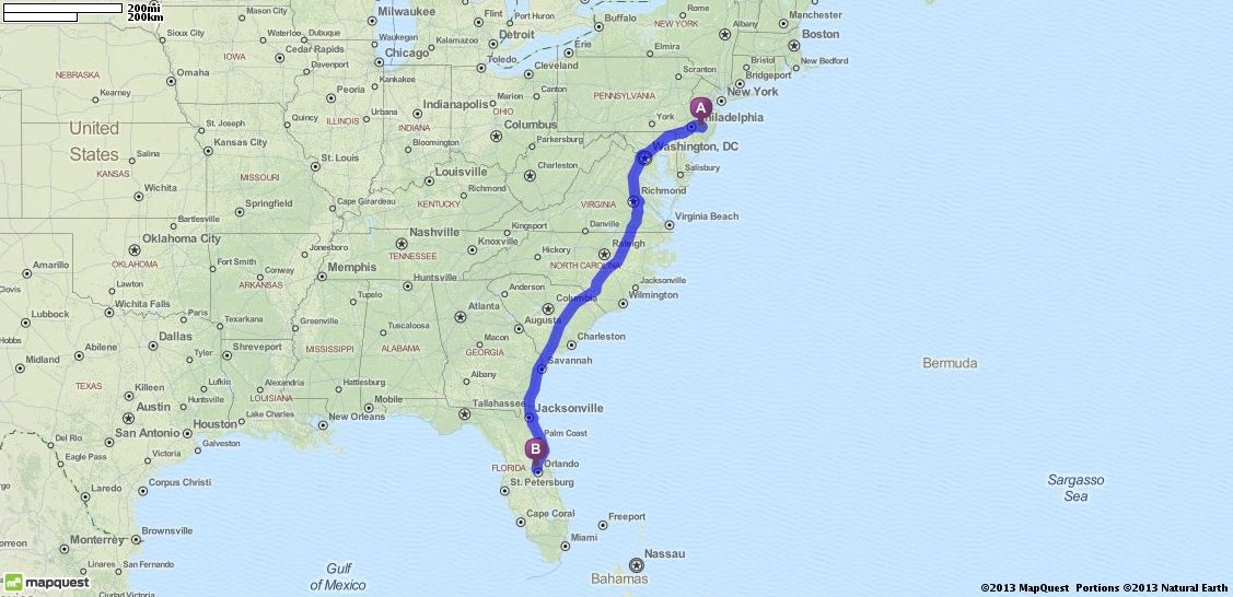 Driving Directions, Shamong, to Orlando, Florida ...