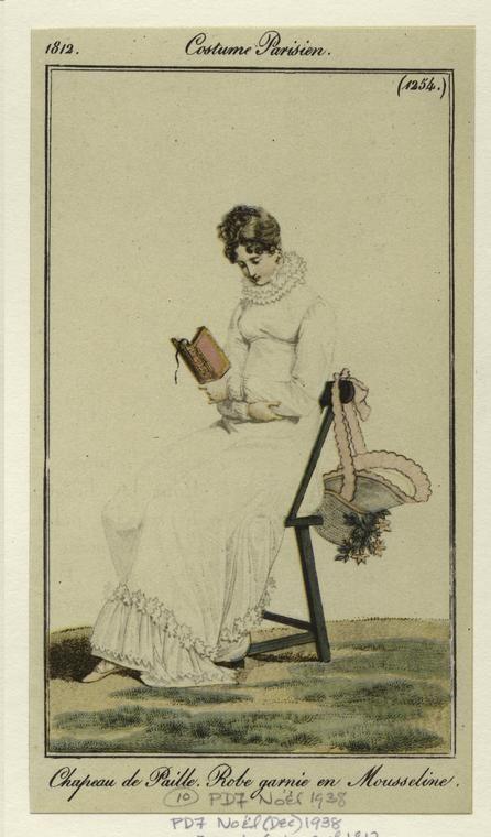 Costume Parisien, 1812. (I love that bonnet!!)