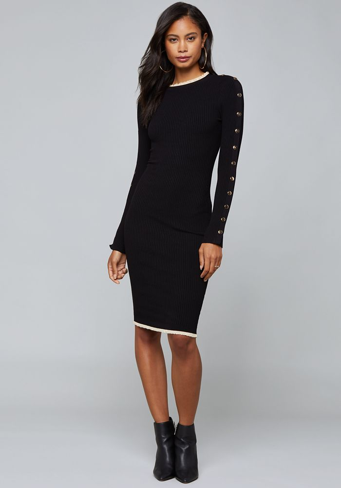 06102212fb9 Bebe Women s Ruffle Trim Sweater Dress