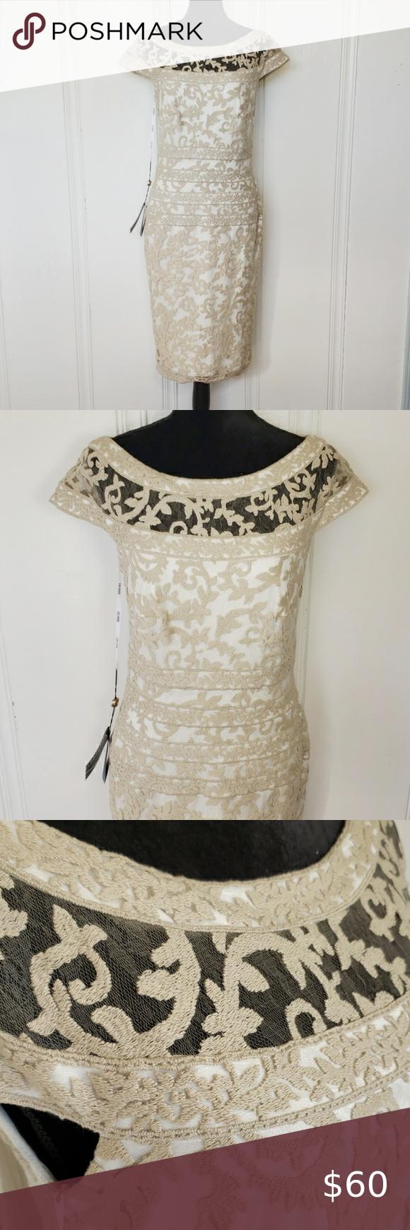 Nwt Tadashi Shoji Boatneck Lace Overlay Dress In 2020 Lace Overlay Dress Gold Long Sleeve Dress Lace Peplum Dress [ 1740 x 580 Pixel ]