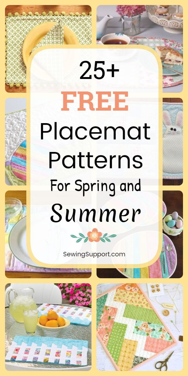 Placemat Diy Over 25 Free Placemat Sewing Patterns Diy Projects And Tutorials To Sew For Spri Placemats Patterns Diy Placemats Sewing Projects For Beginners