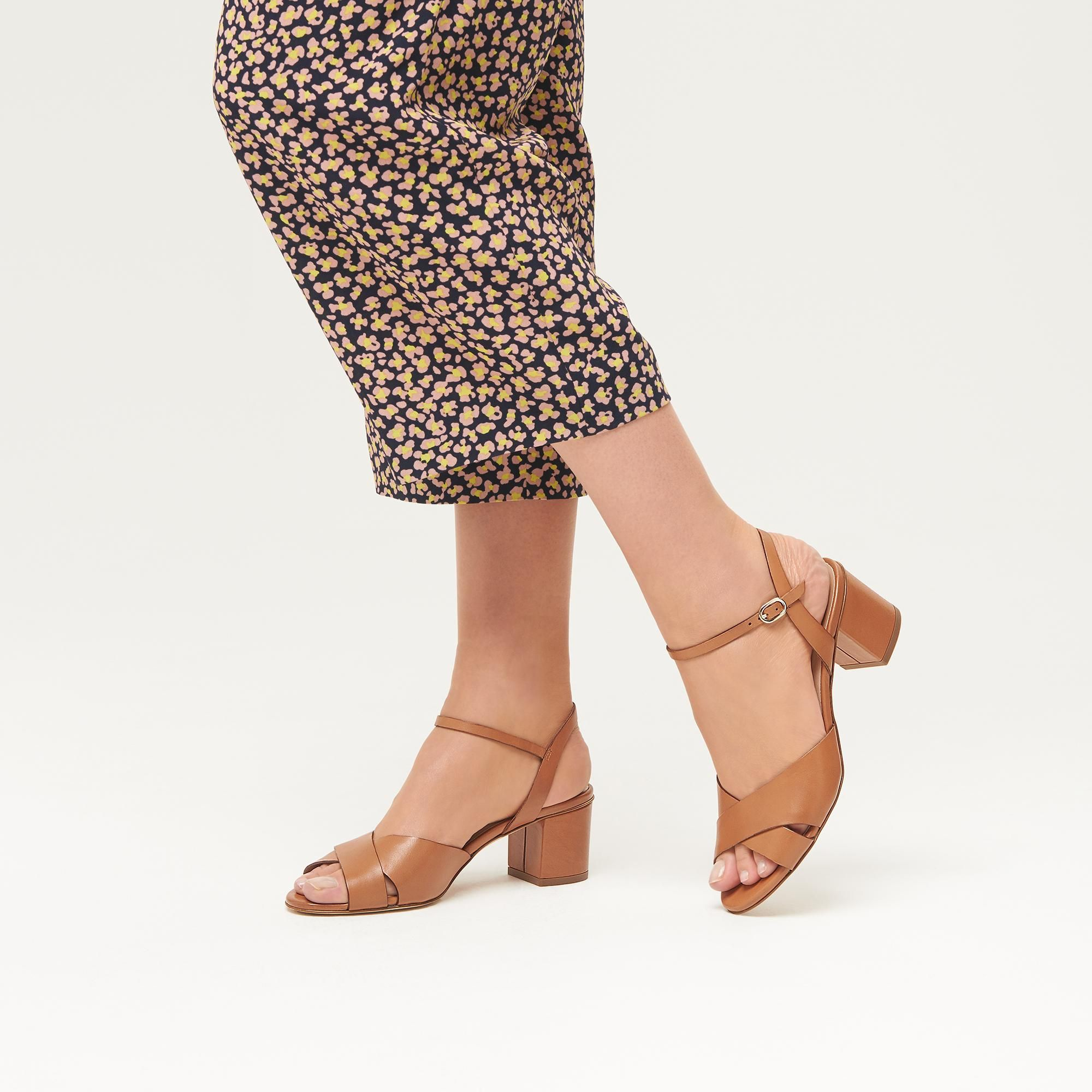 Londony /♥‿/♥ Womens Cross Ankle Open Toe High Chunky Block Heel Pump Dress Sandals