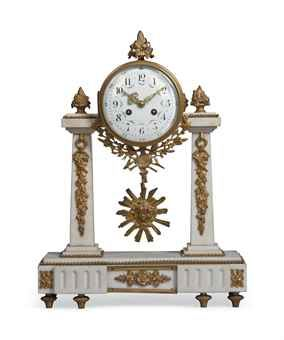 A French white marble and gilt portico clock late 19th Century